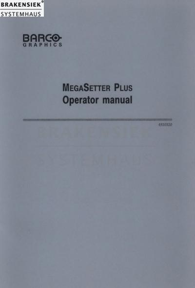 Barco MegaSetter Plus Operator manual | for sale, used, on stock ...