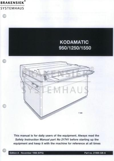 Kodak Polychrome operating instructions Kodamatic 950_1250_1550 ...